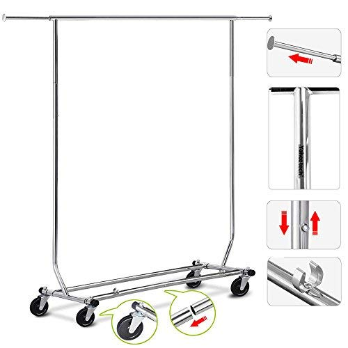 Blossom Store Useful Heavy Duty Commercial Garment Durable Rack Rolling Collapsible Clothing Shelf Chrome