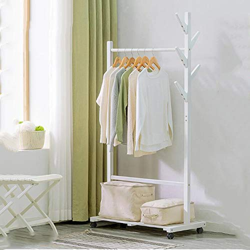 YX Xuan Yuan Wooden Coat Rack,Garment Clothing Rack Wood Coat Stand with Wheels and 6 Hooks Storage Shelves for Bags Shoe Clothes 2 Colors Home Storage (Color : White)