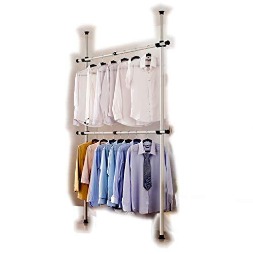 Goldcart 3202 Telescopic Garment Rack, Heavy Duty Design Movable DIY By Hand No Damage to Wall Ceiling Hanging Rail, 0.7-1.3 Meters Wide Adjustable, 120 Kilogram Loading, Reach Hook Included, White