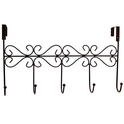 Storage obmwang over the door 5 hook rack decorative organizer hooks for clothes coat hat belt towels stylish over door hanger for home or office use l x w x h 15 x 2 x 9 inch