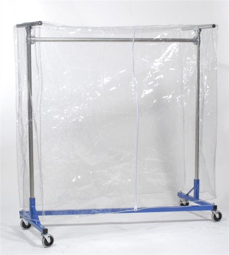 Z Rack Cover Clear Vinyl with Zipper for 60 Inch Z-Rack Garment Racks