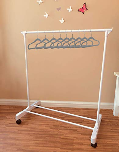 Boottique Child Garment Rack- Kids Closet Organizer- with 10 Children's Velvet Hangers (Rack with 10 Gray Hangers)