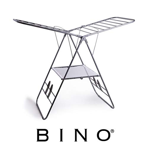 BINO Gullwing Collapsing Foldable Laundry Drying Rack, Silver