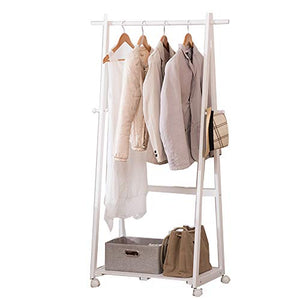 ZJ-Coat rack Wooden Coat Rack,Portable Mobile Solid Wood Coat Rack Clothing Display Stand Living Room Bedroom Hangers Storage Rack 6445156CM && (Color : White)