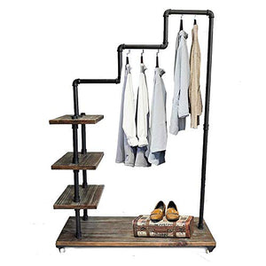Diwhy Industrial Pipe Clothing Rack Pine Wood Shelving Shoes Rack Cloth Hanger Pipe Shelf Garment Racks (Style 4)
