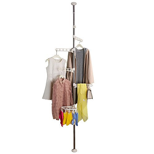 BAOYOUNI 4-Tier Standing Clothes Laundry Drying Rack Grament Coat Hanger Organizer Floor to Ceiling Adjustable Metal Corner Tension Pole Spce Saver with Socks Towel Clothespins, White
