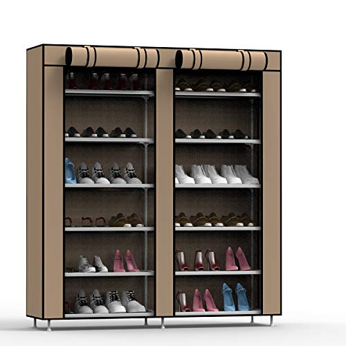 MYOUYA 6 Tier Shoe Rack - Portable Shoe Storage Organizer Cabinet Tower with Dustproof Cover, 47 x 43 Inch (Brown)