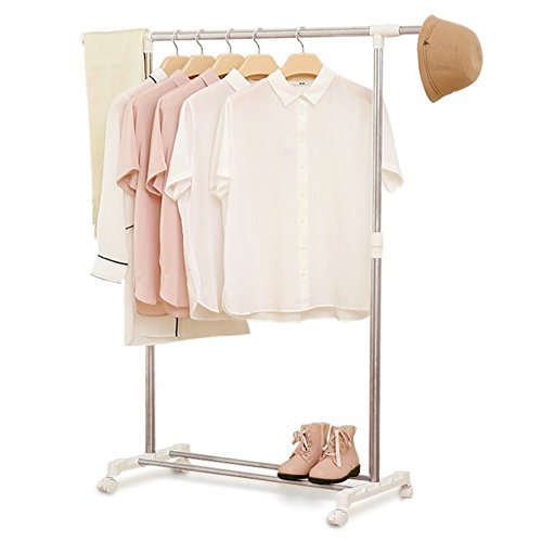 lililili Coat Racks,Floor Standing Multifuctional Hanger, Clothing rack, Adjustable Garment Rack With wheels, Indoor Drying rack-White