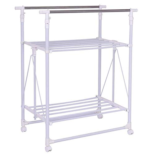 Tangkula Drying Garment Rack Adjustable Rolling Heavy Duty Double Rail Folding Tower Shoes Clothing Storage Organizer with Wheels and Shelves (58.5