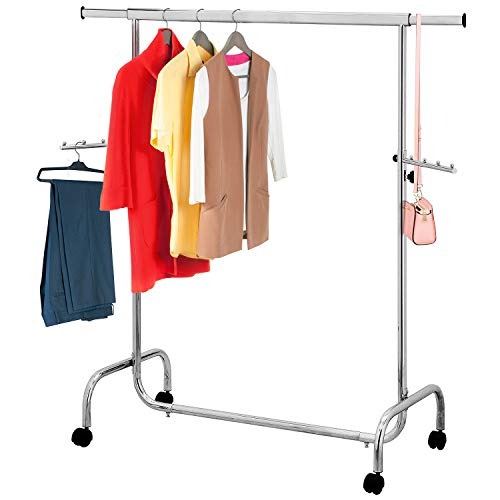 Tatkraft Falcon Garment Rack, Clothes Rack on Wheels, Adjustable Length & Height, Chromed Steel