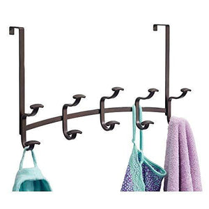 Top mdesign decorative metal over door 10 hook steel storage organizer rack for coats hoodies hats scarves purses leashes bath towels robes for mens and womens clothing bronze