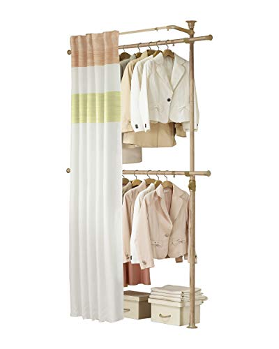 PRINCE HANGER | Premium Wood Colored 2 Tier Hanger with Curtain | Clothing Rack | Closet Organizer | PHUS-0063