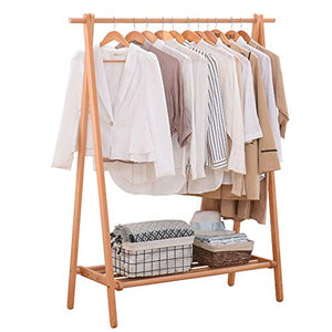 YX Xuan Yuan Wooden Coat Rack,Adjustable Clothing Rail Garment Clothes Rack Collapsible 3 Sizes,2 Color Home Storage (Color : Wood Color, Size : 75x149CM)