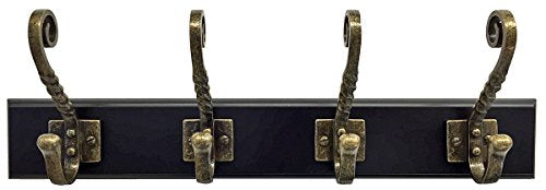 Headbourne 18-Inch Black Rail/Coat Rack with 4 Antique Bronze Double Hooks