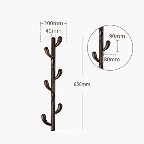 Yxsd Wall-Mounted Tree Branch Design Coat Rack Wooden 5/8 Hooks Hanging Organizer for Coats, Hats, Scarves, Clothes, and Handbags - Walnut Color (Size : 8 Hooks)
