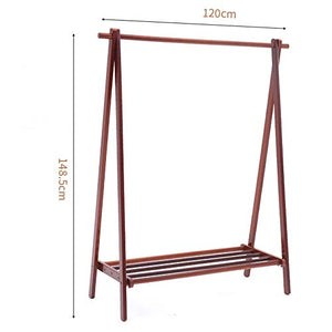 ZHIRONG Adjustable Clothing Rail Garment Clothes Rack Collapsible (Color : Brown, Size : 120149CM)