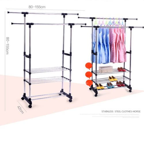 Garment Rolling Rack Double Rail Clothing Bar Retail Display Hanger