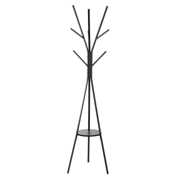 Homebi Coat Rack Hat Stand Free Standing Display Hall Tree Metal Hat Hanger Garment Storage Holder with 9 Hooks for Clothes Hats and Scarves in Black,17.72