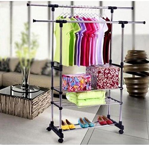 Nagolife Dual Bars Horizontal & Vertical Telescope Style 3 Tiers Stainless Steel Clothing Garment Shoe Rack Clothing Airing Holder Storage Rack Shelves