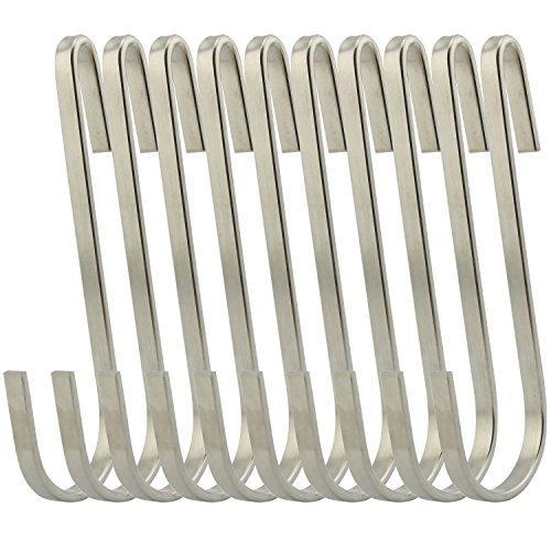 Products ruiling flat style premium stainless steel s hook cookware universal pot rack hooks sturdy hanging hooks multiple uses for kitchenware pots utensils plants towels set of 10
