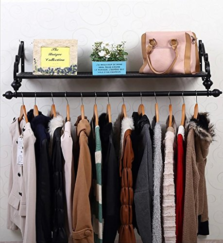Yxsd Coat Rack Clothing Rod Hanger European Creative Wrought Iron Wall Mounted Clothing Rods Storage Shelf, Hanging Closet Black (Color : 80cm)