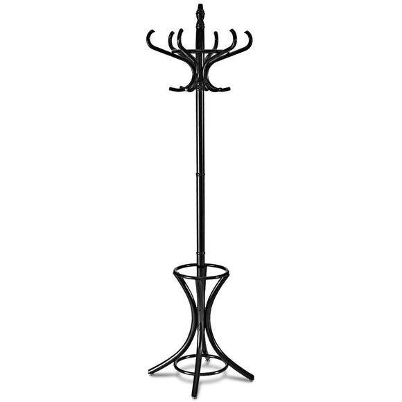Tangkula Standing Coat Rack Wood 12 Hooks Home Hat Jacket Hanger Tree 12 with Umbrella Holder Coat Stand (Black)