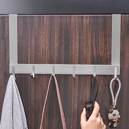 Order now arplis over the door hook hanger sus304 stainless steel heavy duty organizer rack for coat towel bag robe 6 hooks