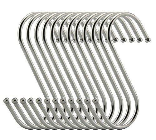 Save ruiling premium s hooks s shaped hook heavy duty stainless steel hanger hooks ideal for hanging pots and pans plants utensils towels etc size large set of 12