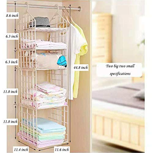 LINGYAN Folding Wardrobe Storage Rack,Dormitory Hanging Storage Rack,Tissue Light Hanger Multi-Layer Shelf,Clothing Organization Rack (Milky, Two Big Two Small)