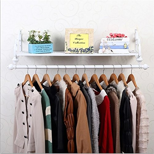 Yxsd Coat Rack Clothing Rod Rack with Storage Shelf,White Wall Mounted Metal Corner Clothing Hanging Bar, Garment Rack (Size : 120cm)