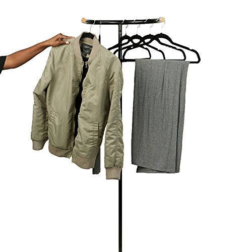 Mind Reader STANDHANG-BLK Free Standing Clothes Rack, Coat Rack, Wall Hanger Stand, Garment Rack Clothing Hanger, Space Saver, Black