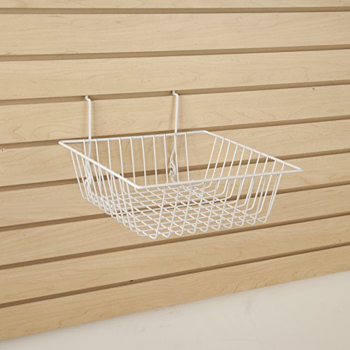 Only Garment Racks #5612WHITE (Pack of 6) White Wire Baskets for Grid Wall, Slat Wall or Pegboard - Merchandiser Baskets, White Wire Basket 12