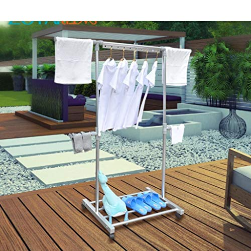 LE Stand Folding Clotheshorse,Indoor Single Rod Telescopic Clothes Hanger Balcony Lift Mobile Hanger A
