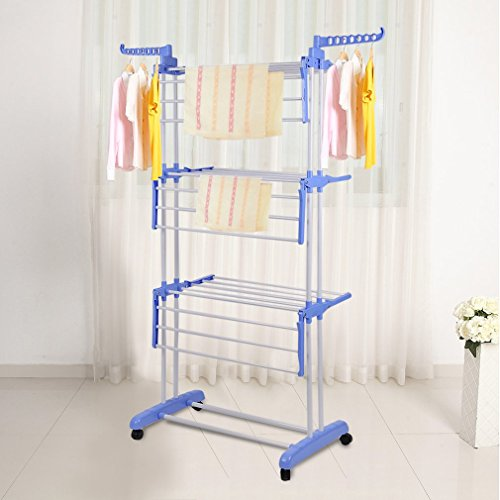 Belovedkai Collapsible 3-Tier Clothes Drying Rack, Folding Garment Hanger Hanging Rods with Casters (Blue)