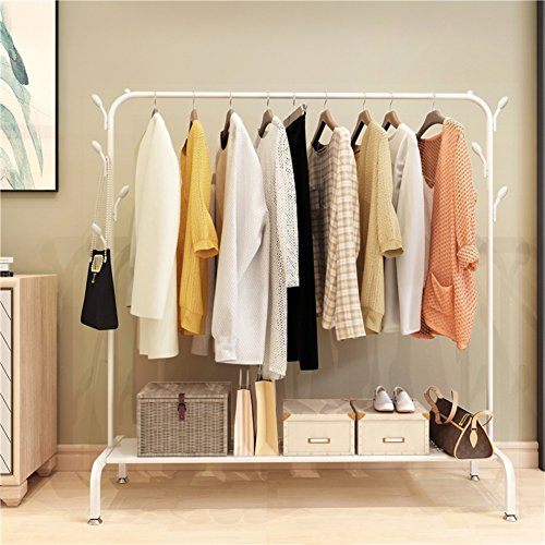 lililili Clothing garment rack heavy duty commercial grade clothes stand rack with top rod and lower storage shelf for boxes shoes boots-B 59''Lx17''Wx60''H