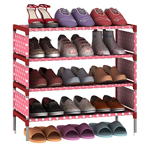 LEHUO HOME Shoes Rack Easy Assembled Non-Woven 5-Tier Shoe Shelf Storage Organizer Stand Holder Keep Room Neat Door Space Saving (Pink)