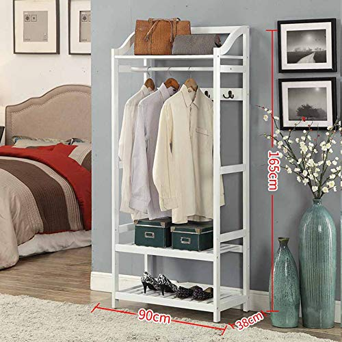 MEIDUO Free Standing Coat Rack Clothing Garment Rack with 2-Tire Shelf for Shoes Clothes Storage with Hooks (Color : White, Size : 90cm)