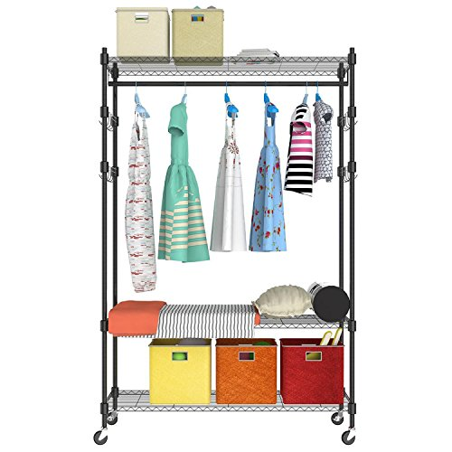 Rolling Garment Rack with Wheels, 3-Tier Heavy Duty Clothes Rack with Single Rods and Shelves, 4 Side Hooks and 4 Wheels, 2 Locking