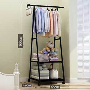 "lililili Clothing garment rack coat organizer storage shelving unit entryway storage shelf with 2-tier metal Floor-standing Shelf-black 22""Wx16.5""Dx63""H"