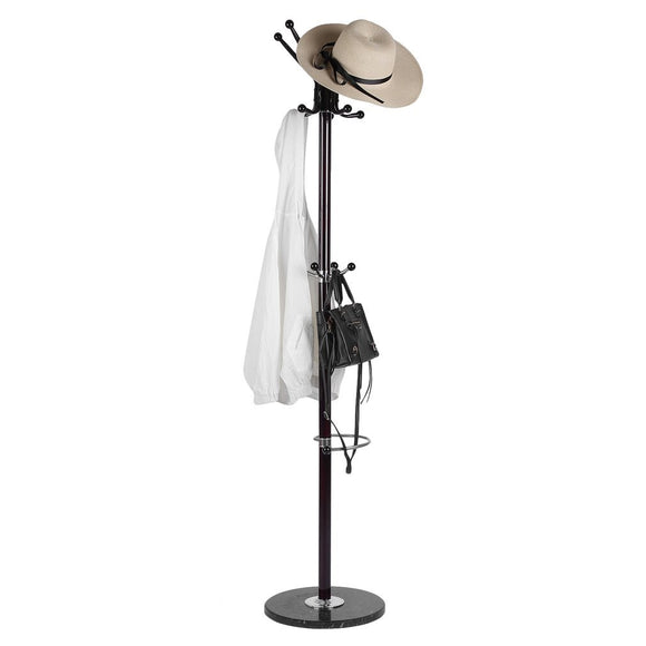Belovedkai Standing Entryway Coat Rack Coat Tree Hat Hanger Holder Floor Stand Holder Hanger Rack Round Base Organizer for Coat/Hat/Umbrella Clothes Hanger Stand (Brown)