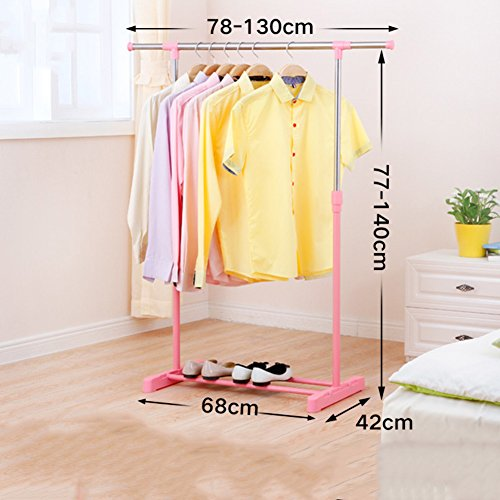 lililili Clothing garment rack,Floor-standing Multifuctional Hanger,Metal Clothing rack Coat Organizer Telescopic shoes clothes storage-pink