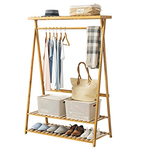 COPREE Bamboo Garment Coat Clothes Hanging Heavy Duty Rack with top Shelf and 2-Tier Shoe Clothing Storage Organizer Shelves