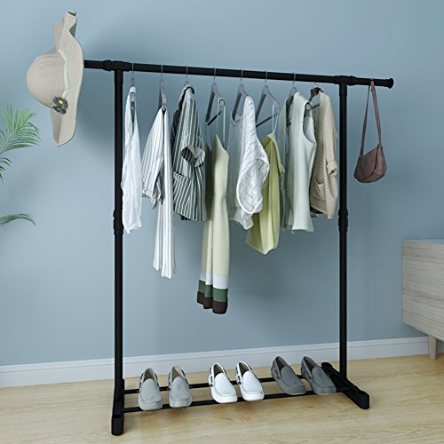 lililili Extendable hanging rack,Clothing garment rack,Floor-standing Household Clothes rod,Simple Drying Clothes storage shelf,Heavy duty commercial grade hanger-A
