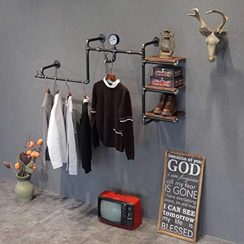 MZGH ISLAND Industrial Vintage Wall Mounted Pipe Shelves, Hung Clothing Rack,Multi-Function Commercial Grade Clothes Store Display Rack,Floating Shelf