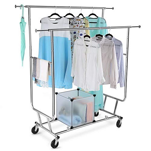 LordBee Double Rail Clothing Garment Rolling Scalable Adjustable Laundry Rack Hanger Heavy Duty Retail Display Hanger with Wheels Bedroom Dressing Room Clothes Storage