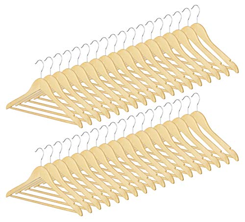 Whitmor Natural Grade Wood Suit Hangers, Set of 36