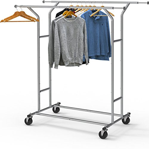 Simple Houseware Heavy Duty Double Rail Clothing Garment Rack, Chrome