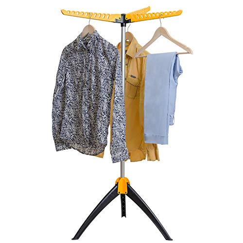 Art Moon Elm Portable Clothes Drying Rack, Foldable Tripod Garment Hanger, Steam Hanger, Indoor/Outdoor Durable Construction Up to 63 hangers