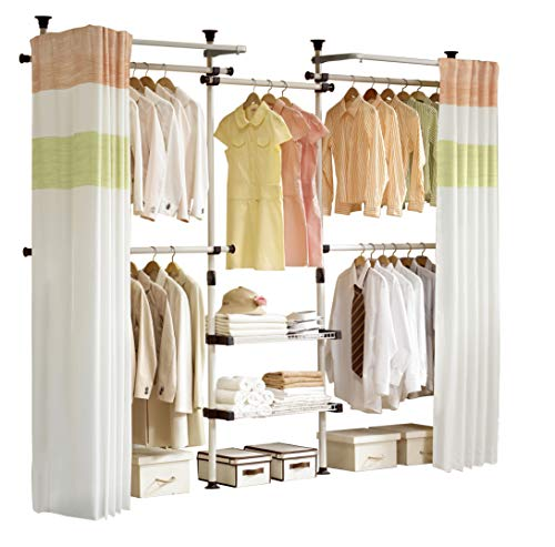PRINCE HANGER | Deluxe 4 Tier & Shelf Hanger with Curtain | Clothing Rack | Closet Organizer | PHUS-0061