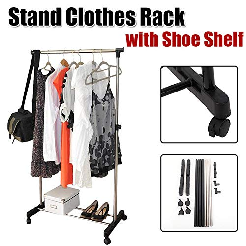 HOBBYN Garment Rack with Wheels,Rolling Clothes Drying Rack Portable Adjustable Shoe Shelf Hanging Wardrobe Rack Space Saving Clothes Rack Home Clothing Organizer Storage